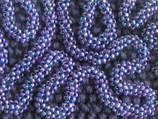 Knit Texture With Seed Beads Ornament (violet) Stock Images