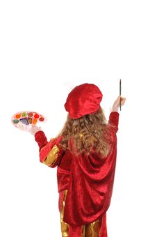Free Little Girl In Historical Suit With A Paintbrush Royalty Free Stock Photography - 18856107