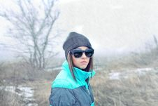 Free Beautiful Girl In Sunglasses And Winter Royalty Free Stock Photo - 18856655