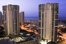 Free Hotel Towers At Dusk, Ala Moana, Hawaii. Stock Photo - 18857920
