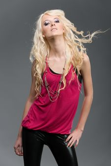 Free Young Beautiful Blond On A Grey Background Royalty Free Stock Images - 18859219