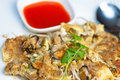 Free Thai Fried Mussels With Egg Royalty Free Stock Images - 18863199