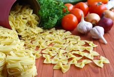 Pasta And Fresh Vegetables. Stock Photos