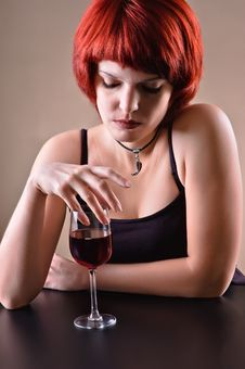 Free Girl C A Red Wine Glass Royalty Free Stock Photos - 18864778