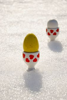Free Color Easter Eggs On Spring Snow Stock Photography - 18864822