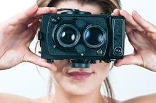 Free Vintage Camera Girl. Stock Photo - 18865490