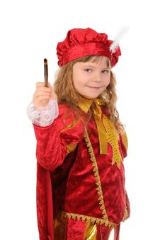 Free Girl In Historical Suit With A Paintbrush Royalty Free Stock Photo - 18865635