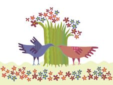 Pair Of Birds And A Blossoming Tree Stock Image