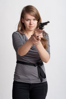 Free Girl With Gun Stock Photo - 18867300