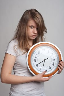 Free Sleeping Girl With A Big Clock In His Hands Stock Image - 18867401