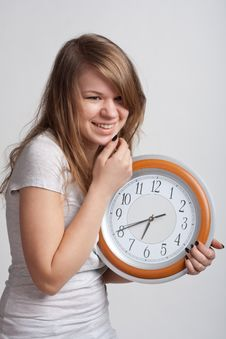 Free Beautiful Girl With A Big Clock Stock Photos - 18867433