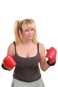 Free Mature Funny Woman With Boxing Gloves Royalty Free Stock Image - 18868686