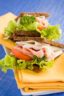 Cheese And Ham Sandwich Stock Images