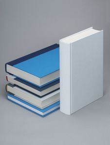 Free White, Plain Standing Book With Four Others Royalty Free Stock Image - 18869446