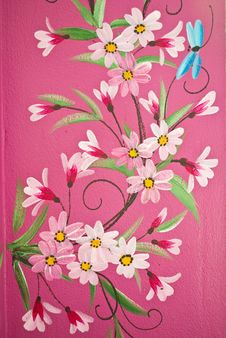Free Draw Flower On The Wall. Stock Photography - 18869522
