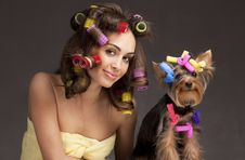 Free Female With Yorkshire Terrier Dog Stock Photos - 18869803