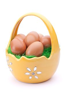 Free Eggs In Easter Basket Stock Photo - 18869950