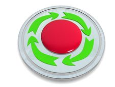Red Button With The Green Arrows №1 Royalty Free Stock Image