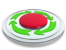 Red Button With The Green Arrows №2 Stock Photography