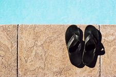 Free Sandals At The Pool Royalty Free Stock Image - 18870176