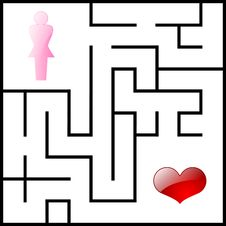 Free Female And Heart Labyrinth Stock Images - 18870184