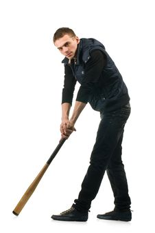 Free Young Man With Baseball Bat Stock Images - 18870284