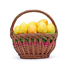 Free Eggs In Easter Basket Stock Photography - 18870382