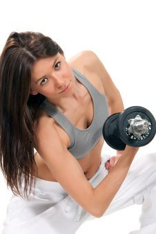Fitness Woman Workout Gym Lifting Dumbbells Stock Image