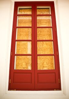 Free Gold And Red Ancient Window Royalty Free Stock Photo - 18870585