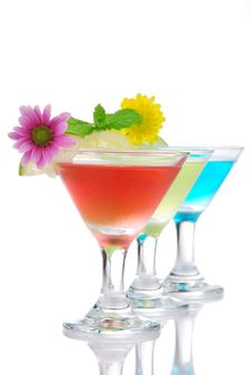 Tropical Summer Martini Cocktails Row Stock Image