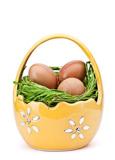 Free Eggs In Easter Basket Stock Images - 18871704