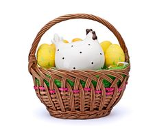 Free Eggs In Easter Basket Royalty Free Stock Photography - 18871757