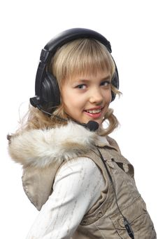 Free Blond Teenage Girl In Headphones Stock Photo - 18875280