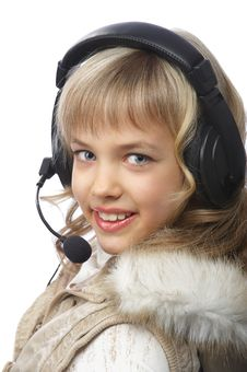 Free Blond Teenage Girl In Headphones Stock Image - 18875321