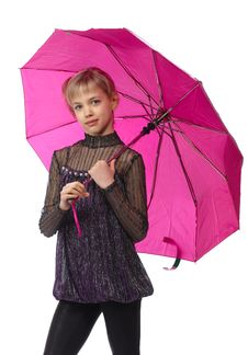 Free Pretty Girl With Pink Umbrella Stock Images - 18875444