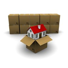 House From A Cardboard Box Stock Photos