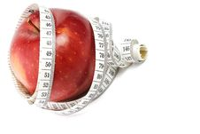 Free Red Apple And Measure Tape Stock Photography - 18875862