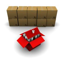 Free House Of Red Cardboard Box Stock Photography - 18875942