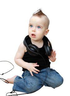 Free Baby And Earphones Royalty Free Stock Photos - 18876068