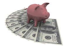 Free Piggy Bank Is On The Dollars Stock Photography - 18876072