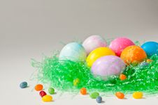 Free Brightly Decorated Easter Eggs And Jelly Beans Stock Photography - 18876832
