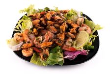 Free A Salad With Seafood On A Black Square Plate Royalty Free Stock Photography - 18877157