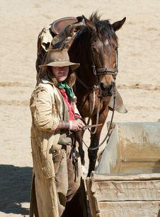 Free Cowboy And His Horse Royalty Free Stock Photos - 18877438