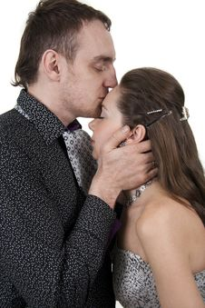 Free Man Kisses The Women In A Forehead Royalty Free Stock Photos - 18878298