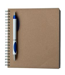 Recycle Notebook Brown Cover With Pen Royalty Free Stock Photos