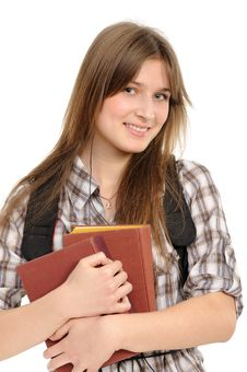 Free Girl With A Backpack, Holds The Book Stock Photos - 18878503