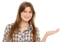 Woman Holding Hand Presenting A Product. Stock Images