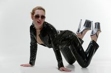 Free Sexy Wouman In Latex Overalls In Studio Royalty Free Stock Images - 18879489