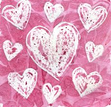 Free Hearts Painted With Watercolor Paint Stock Photos - 18879763