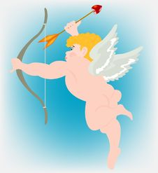 Free Boy Angel With Wing And Dart Of The Amur Royalty Free Stock Image - 18879766
